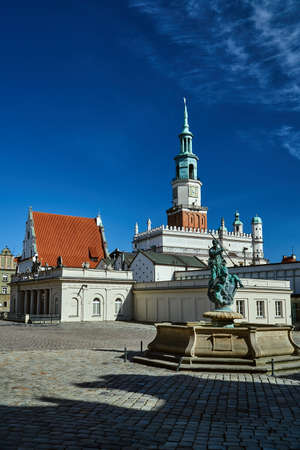 A fountain with a sculpture, tenement houses and a tower of the market in Poznan Stock Photo