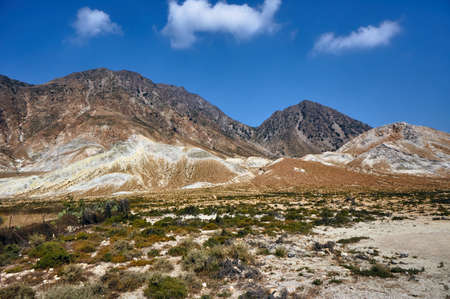 Rocky mountain top on the island of Nisiros in Greece