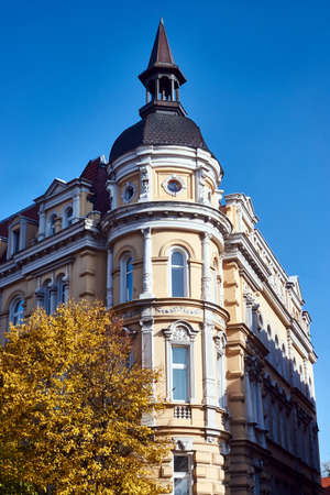 Facade of Art Nouveau apartment house in Gniezno Stock Photo