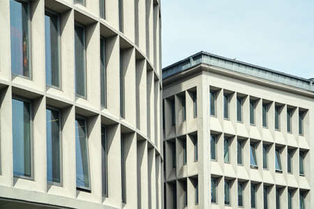 Facades of modernist office buildings in Poznan