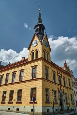 historic town hall with a clock tower in the city of Vidnava in the Czech Republic