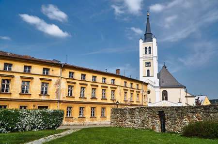 A historic church with a bell tower in the city of Vidnava in the Czech Republic