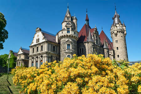 Neo-Gothic towers of the historic Moszna castle in Poland