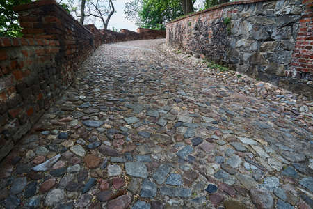 A cobbled road to a medieval castle