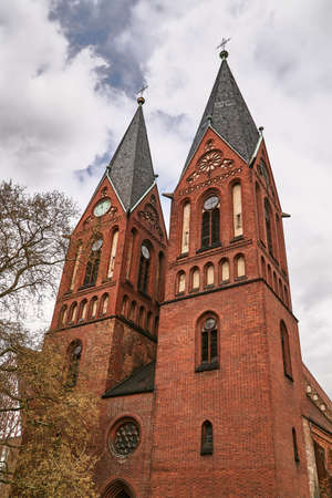 Gothic church with belfries in Frankfurt on the Oder