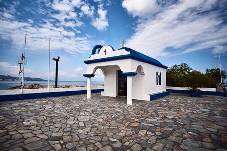 Orthodox chapel in the port of Faliraki on the island of Rhodes