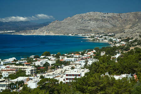 Bay, mountains and the town of Pefki on the island of Rhodes Stock Photo