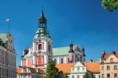buildung and belfry of baroque Catholic Church in Poznan