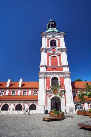 belfry of baroque Catholic Church in Poznan Stock Photo