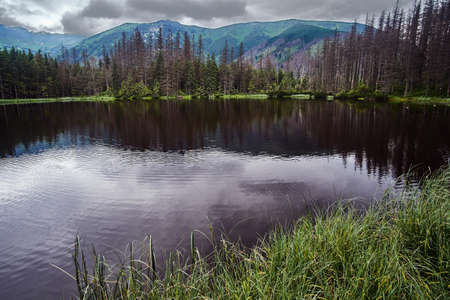 Post-glacial lake Smreczynski Pond in the mountains of the Tatra Mountains in Poland