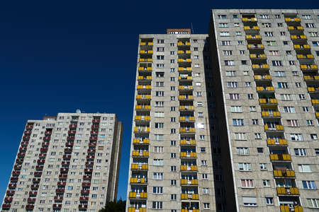 The facade of a residential high-rise buildings in Poznan Stock Photo