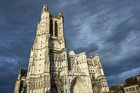Gothic Cathedral of the Saint-Pierre-et-Saint-Paul with belfry in Troyes, France Stock Photo