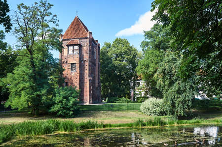 The medieval tower of bricks in Szamotuly in Poland Stock Photo