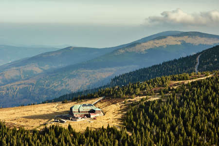 Mountain chalet on the meadow in the Giant Mountains in Poland