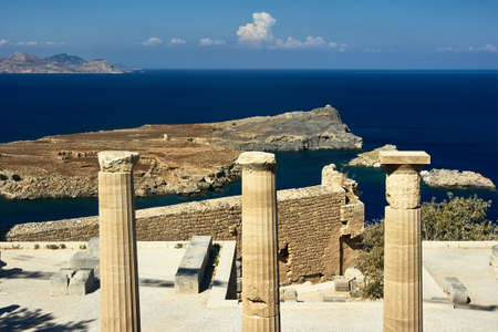 Columns ancient temple in the city of Lindos on Rhodes Island Stock Photo