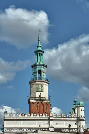 tower of the renaissance town hall at the Old Market in Poznan Stock Photo