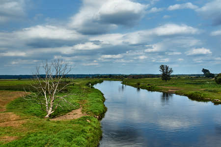 Notec River and rural landscape in summer in Poland