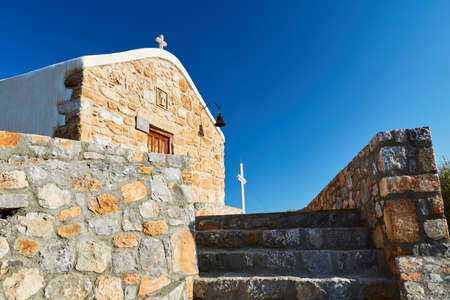 A stone Orthodox chapel on the island of Rhodes in Greece