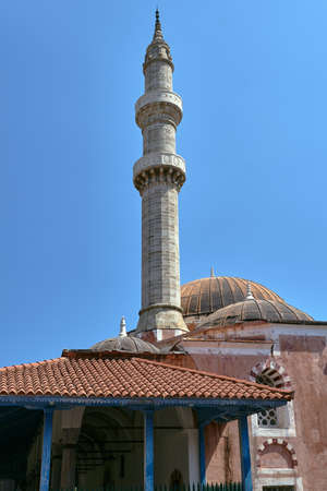 Turkish mosque with minaret in the city of Rhodes, Greece