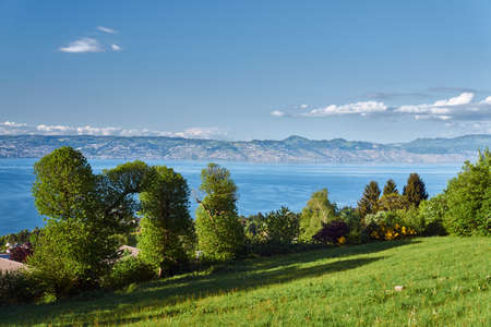 Mountain landscape at Lake Geneva in the French Savoie