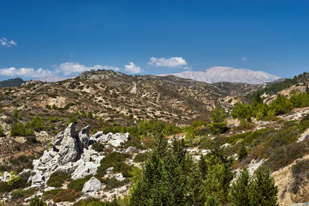 mountain landscape on the island of Rhodes in Greece Stock Photo