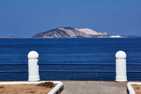 Barrier on the seashore of the island of Nisiros in Greece Stock Photo
