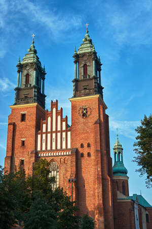 Towers of the gothic cathedral in Poznan
