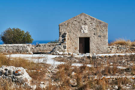 A stone building in the ruins of a Venetian medieval fortress on the island of Kos
