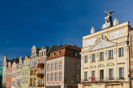 facades of historic houses on the Old Market Square in Poznan Editorial