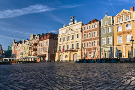 facades of historic houses on the Old Market Square in Poznan Stock Photo