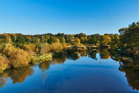 Trees on the banks of the Lusatian Neisse. Poland Stock Photo