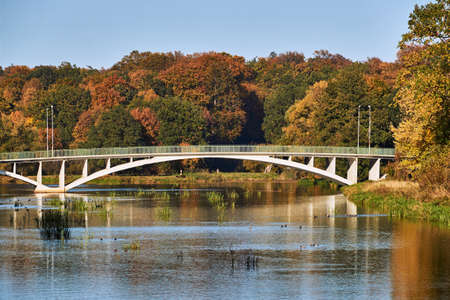 A modern bridge over the Lusatian Neisse River. Poland Stock Photo
