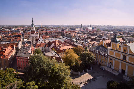 Aerial view of the downtown city of Poznan