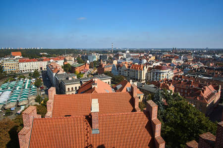 Aerial view of the downtown city of Poznan 免版税图像