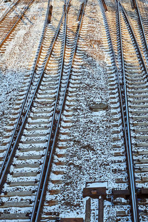 Railway tracks during the winter in Poznan