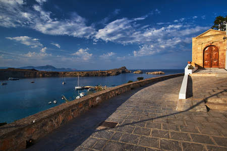 Entrance to the historic house of Lindos on the island of Rhodes Stock Photo