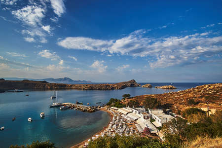 view of the beach and the bay of Lindos in Rhodes