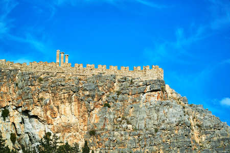 Medieval fortifications on the Lindos rock Stock Photo