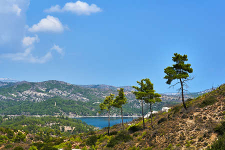 mountain landscape with a view of the island of Rhodes in Greece