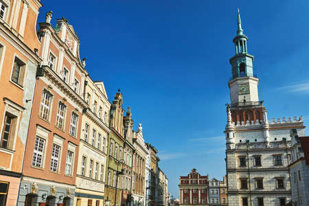 Old market with Renaissance town hall tower in Poznan Stock Photo