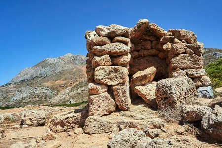 stone ruins in the mountains on the island of Crete