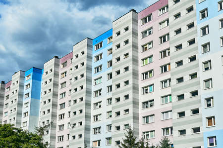 Facade of multi-storey residential buildings in the city of Poznan