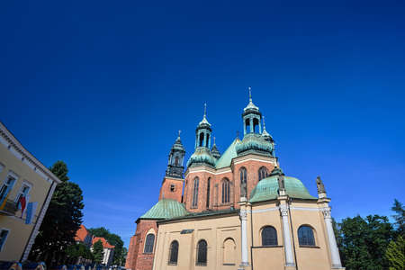 towers of medieval Gothic cathedral in Poznan