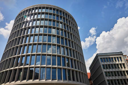 Modernist, historic building in the shape of a cylinder in Poznan Stock Photo