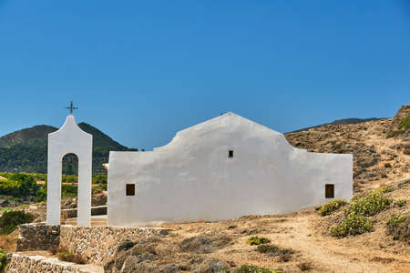 Orthodox chapel of Saint Nicholas on the island of Zakynthos in Greece Stok Fotoğraf