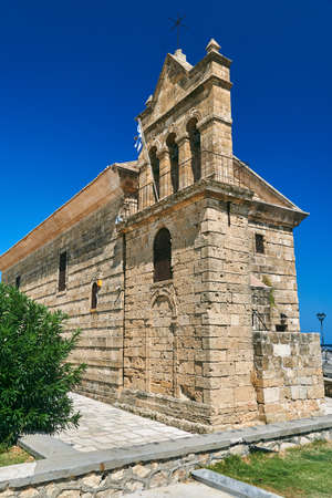 Belfry of the historic Orthodox church of St. Nicholas in the capital of Zakynthos island in Greece