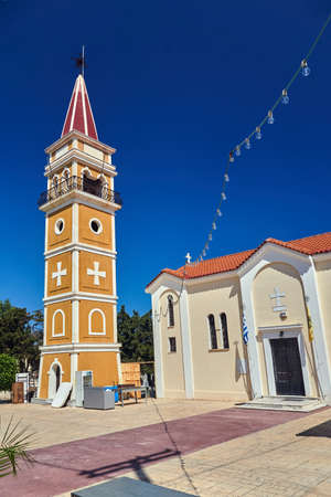 The belfry of on the Orthodox church in the city of Argasi of the island of Zakynthos in Greece Stok Fotoğraf
