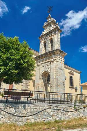 The gate with the bell tower of the Virgin Zoodochos Pigi Church on the island of Zakynthos in Greece