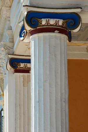 Heads Ionic columns in Achilleon Palace in Corfu island