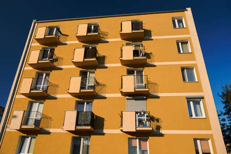 Residential building with balconies in the center of Poznan